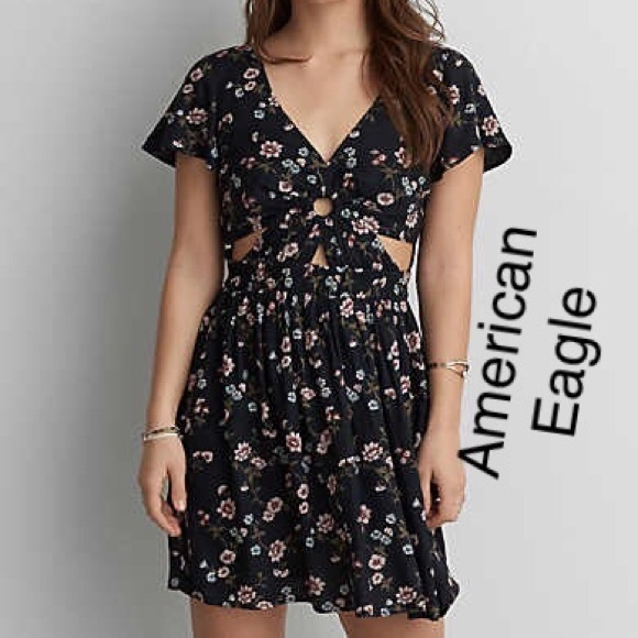 c6e393595b6dc American Eagle Outfitters Dresses   American Eagle Navy And Floral ...